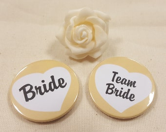 Vintage/ Quirky Heart Hen Do Badges / Hen Party Badges / Wedding / Team Bride Badge (A Set) - Orange