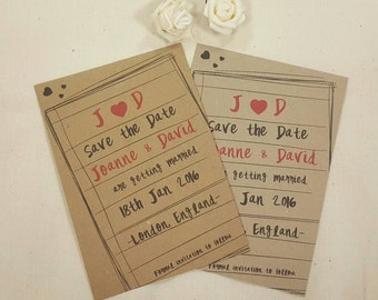 Personalised Save The Dates Wedding Notepad A6 Postcard Invites Ribbed or Kraft with envelops