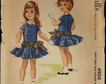 1950s Size 3 Breast 22 Helen Lee Girls Dress Attached Petticoat McCalls 4904 Vintage Sewing Pattern 50s Dropped Waist