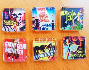 MAD Monster Magnets! - (set 4) - Six 1 inch Glass Tile B-horror movie magnets, Tiki Oasis 2016, retro, kitsch