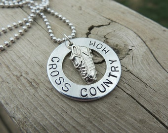 Hand Stamped Personalized CROSS COUNTRY MOM necklace custom jewelry Sports jewelry