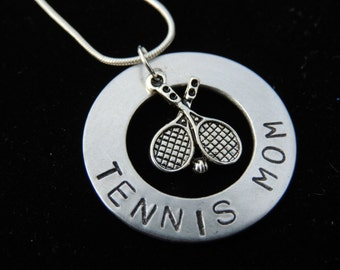 Personalized Hand Stamped TENNIS MOM necklace custom jewelry Sports jewelry team
