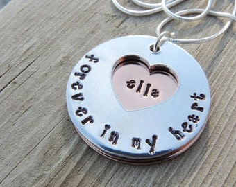 Hand stamped memorial necklace, forever in my heart, in memory of, angel jewelry, angel baby, remembrance necklace, personalized memorial