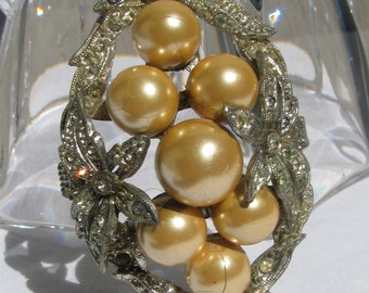 Very Old and Elaborate Large Faux Pearl and Pave Rhinestone Openwork Brooch