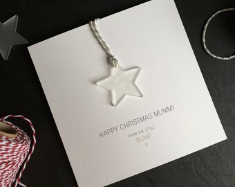 Happy Christmas Mummy from the Little Bump // Christmas Card with Frosted Perspex Star Tree Decoration