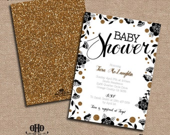 CUSTOM Baby Shower Invitation - Black, White & Gold Glitter Foral