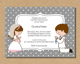 Twins First Communion Invitation Confirmation Invite Girl Boy Twin Invite Digital File