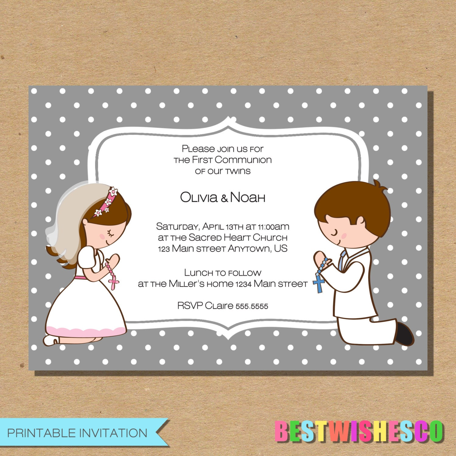 il_fullxfull.912882140_9pwl siblings communion etsy,First Communion Invitations For Boy Girl Twins