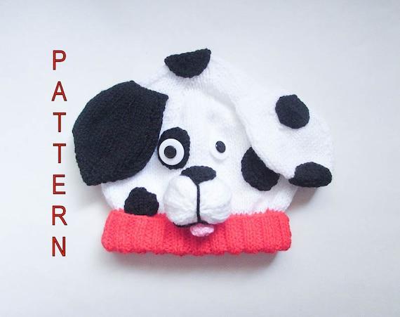 Knitting Pattern Dalmatian Puppy Dog Baby Beanie Hat ...