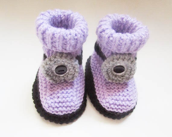 Knitting Pattern Minion Booties Baby Shoe Baby Shower Gift Baby Slippers Infa...