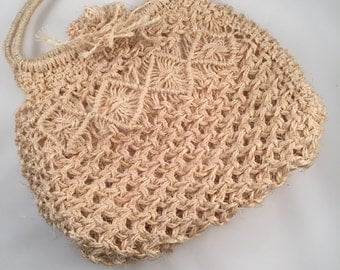 Retro Straw Purse with Double Handles, Fully Lined