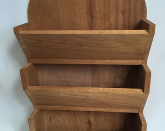 "Solid Wood Wall Mount File, 3 Slots, Retro Office, Kitchen, 18-1/4"" X 11"""