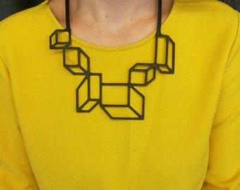 laser cut necklace, black necklace, 3d illusion, soft necklace, minimalist necklace, necklace for mom, perfect gift,  square polygon, PVC