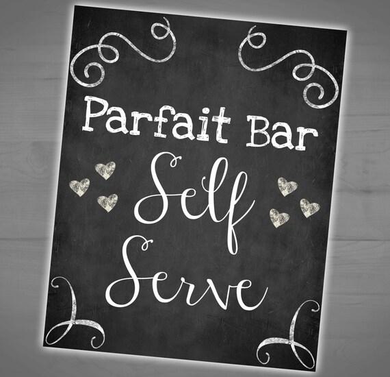 Parfait Bar Printable Chalkboard Sign Self Serve Wedding