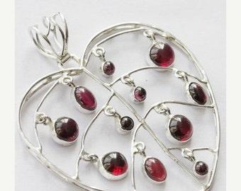 SEASON SALE 2.08'' Natural Garnet Gemstone Pendant Handmade Jewelry With 925 Sterling Silver Metals -14RI180