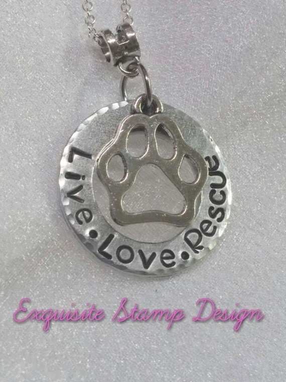 Live Love Rescue - Dog Lover Necklace - Handmade - Pet Lover Gifts - Animal Rescue Necklace - Animal Lover Necklace - Gift for Animal Rescue