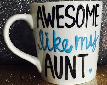 Awesome like my aunt - awesome like my niece- set of one or two- aunt gift - mommy gift- auntie gift -Mother's Day