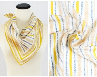Grey and Yellow Vera Scarf - Silk Blend Vera Neumann Scarf - Vintage 1960s Sheer Silk Scarf