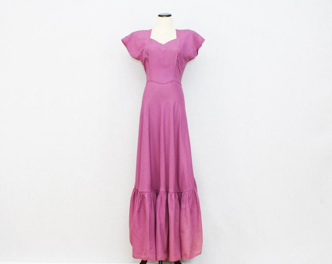 30s Magenta Sweetheart Neck Gown - Vintage 1930s Purple Prom Dress