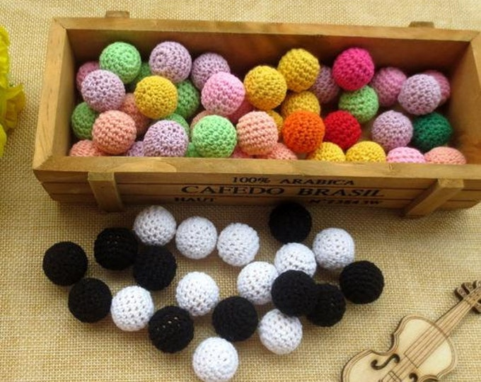 Crochet Beads Needlepoint Pattern Wood Bulk Baby Knitting Nursing Necklace Newborn 50pc 20mm Color Ball Plus 50mt String Rope for Jewelry