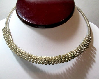 Wire Work Vintage Gypsy Boho Rounded Choker Necklace 1970's