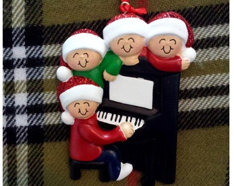 Personalized Christmas Ornament Family of 4 Around a Piano - Gift for Mom or Grandma - Family Ornament - Christmas Carolling