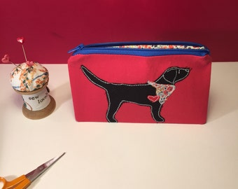 Labrador coin purse, fabric zipper coin purse, labrador zipper pouch, labrador mini make up bag, labrador coin zipper