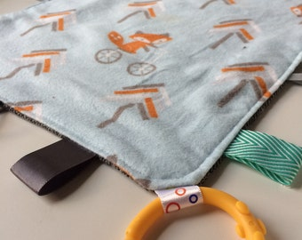 Tag blanket - Sensory Blanket - Taggy - Lovey - Fox on a Bike