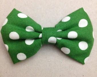 Green Polka Dot Mini Fabric Bow