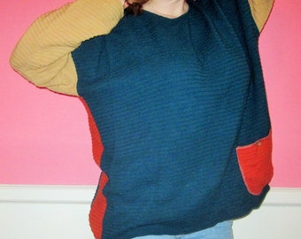 Reversible Colorblock Chunky Sweater, Size XXL