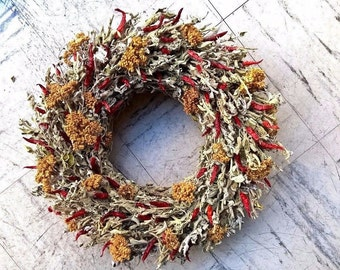 Kitchen Herb Wreath - Dried Sage And Chili Wreath - Dried Floral Wreath - Home Decoration