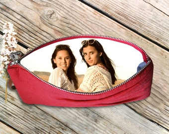 Pleated Photo Wristlet- Gift with Picture for Christmas, Personalized Bag, Custom Photo Purse, Custom Clutch- Firefly