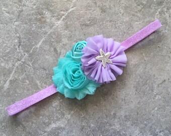 The Ariel headband, Baby Hair Bow, baby headbands, lavender aqua headban, baby girl headband, Little mermaid headband