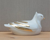 vintage italian dove bonbonierre, Agostinelli Italy, fine porcelain, trinket box, jewellery box, colombe, 1950's home decor, gold and white