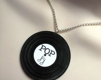 VINYL RECORD...laser cut acrylic statement necklace