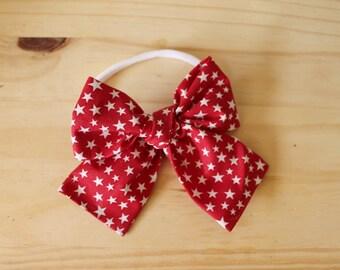 Big Big Red Star Spangled Bow (headband or clip)