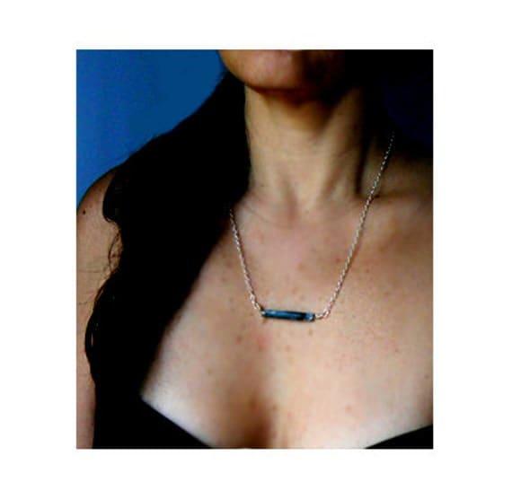 Raw blue kyanite bar pendant- Wire wrapped sterling silver kyanite necklace-Trendy gemstone pendant- Minimalist blue necklace- Women gift