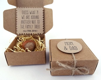 Pregnancy Announcement, Hazelnut, Nuts, New Baby Arrival, Grandmother, Grandfather, Grandparents, Paper Box, Burlap, Rustic, ECO Friendly
