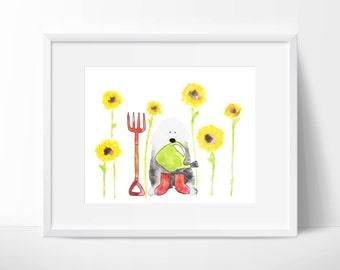 "Old English Sheepdog Watercolour ""Sunflower"""