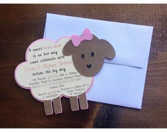 lamb baby shower invitation, lamb invitation, lamb baby, lamb baby shower, lamb baptism invitation, lamb baby shower decorations, lamb