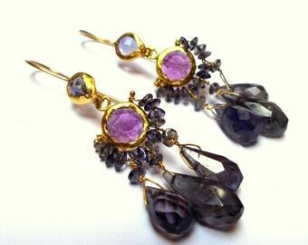 Amethyst Earrings - Gold Earrings - 22K Gold Earrings - Chandelier Earrings - Free Shipping!!