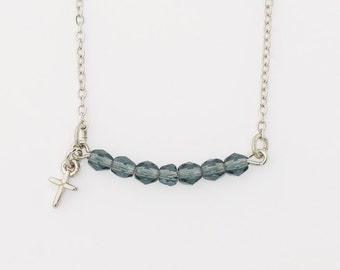 Cross Necklace - Blue Beads