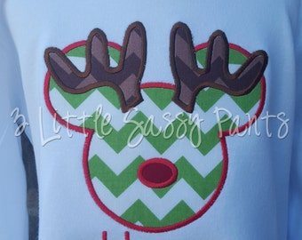 Mickey Mouse Reindeer Embroidered Shirt- Mickey Applique Shirt- Custom- Disney- Vacation- Christmas Shirt- Reindeer- Rudolph- Chevron
