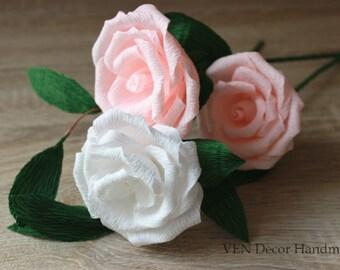 Rustic Wedding Centerpiece, 6 Paper Roses, Flower Arrangement, Rose Paper Bouquet, Bridal Bouquet, Bridesmaids Bouquets, Wedding Table Decor