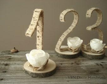Rustic 3D Table Numbers 1-10, Wedding Table Numbers, Tree Slice Table Numbers, Freestanding Table Numbers, Rustic Woodland Wedding Numbers