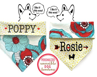 CLEARANCE: Personalized Stylish  Reversible Dog Bandana