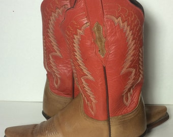 LUCCHESE Brown & Red Leather Western Cowboy Cowgirl Boots Women's Size 8