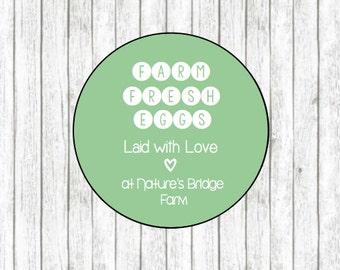 Farm Fresh Egg Carton Labels: Custom Round Egg Carton Labels