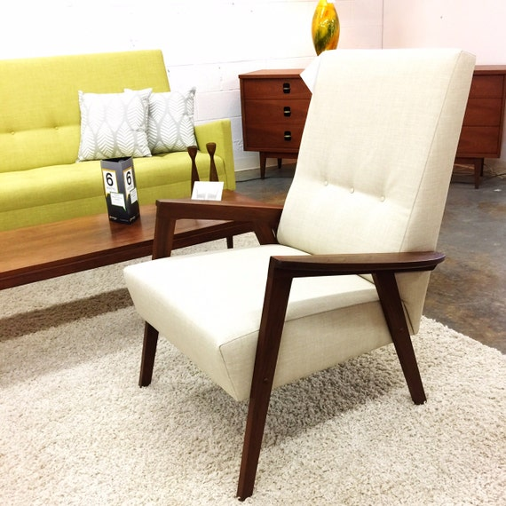 Modern style wood frame lounge chair danish club vintage hand crafted