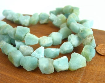 "15"" Amazonite 11mm 14mm / 16mm 18mm rough freeform nugget beads gemstone - blue seafoam - Half / Full strand"